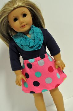 This listing includes the following pieces.     A pink polka dot A-line skirt. The skirt has an elastic waistband for easy on and off. The fabric