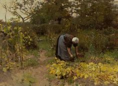 The Athenaeum - In the Vegetable Garden (Anton Mauve - ) Farm Paintings, Watercolor Paintings, Anton, Champs, Barbizon School, Dutch Painters, Dutch Artists, Vincent Van Gogh, Farm Life