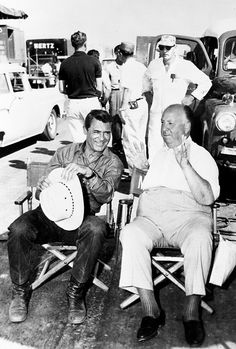 "1 On the set of ""North By Northwest"", L to R: Cary Grant, Alfred Hitchcock. Grant and Hitchcock would work a total of four times: ""Suspicion"" ""Notorious"" ""To Catch a Thief"" and ""North By Northwest"" Alfred Hitchcock, Hitchcock Film, North By Northwest, Cary Grant, Old Movies, Great Movies, La Main Au Collet, Divas, Hooray For Hollywood"