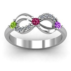 71984a27639 Three Stone Infinity Mothers Ring with Accents...I would want my birthstone