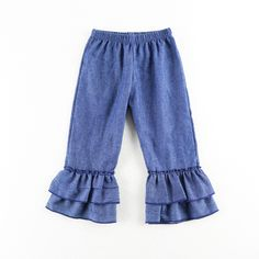 2018 Latest Style boutique baby girl Blue clothing kid children ruffle wholesale new style short pants