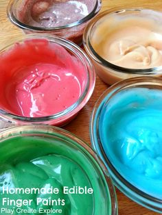 Edible finger paints for babies & toddlers....why just for kids. ..I'm a good finger painter