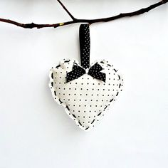 Christmas Decoration Hanging Fabric Heart in Black and White.