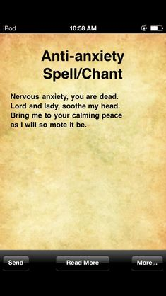Anti-Anxiety Spell/Chant Anti-Anxiety Spell/Chant An. - Acani - Anti-Anxiety Spell/Chant Anti-Anxiety Spell/Chant An. Witchcraft Spell Books, Wiccan Spell Book, Wiccan Witch, Witch Spell, Witchcraft Spells For Beginners, Healing Spells, Magick Spells, Easy Spells, Luck Spells