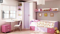 Dormitorio juvenil con cama nido con cajones y armario de rincón.