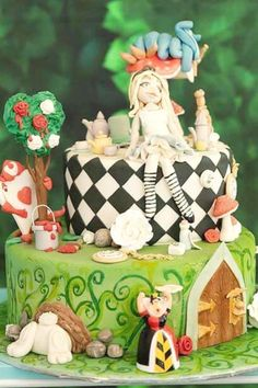 Don't miss this beautiful Alice in Wonderland birthday party! The cake is gorgeous! See more party ideas and share yours at CatchMyParty.com   #catchmyparty #partyideas #aliceinwonderland #cake #aliceinwonderlandparty #disneyparty
