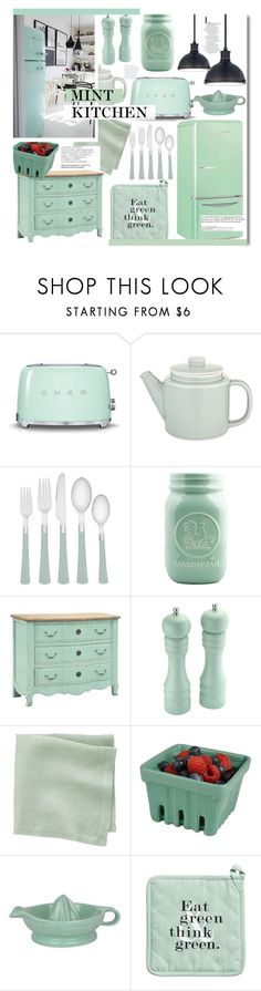 """Mint Kitchen"" by kusja ❤️ liked on Polyvore featuring interior, interiors, interior design, home, home decor, interior decorating, Smeg, Common, Noritake and Dot & Bo"