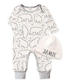 Heather Gray Bear Playsuit & Beanie Personalized Set - Infant