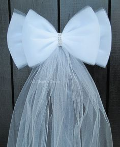 White Tulle Bling Pew Bow Wedding Church Aisle by AllMonthsDecor