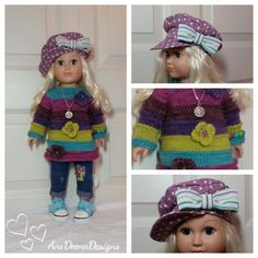 "Complete  outfit clothes for 18 inch doll american girl doll - also fits Trinketbox bjd 19"" by AvaDeenaDesigns on Etsy"