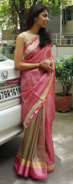Half & half saree in shaded green and pink Indian Attire, Indian Ethnic Wear, Indian Dresses, Indian Outfits, Indian Sarees, Kota Sarees, Kerala Saree, Simple Sarees, Elegant Saree