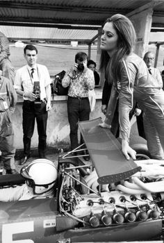 A glamorous model strikes a pose for photographer at the 1968 British Grand Prix at Brands Hatch Le Mans, Formula 1, Subaru, Toyota, Audi, British Grand Prix, Gilles Villeneuve, Race Engines, Racing Events
