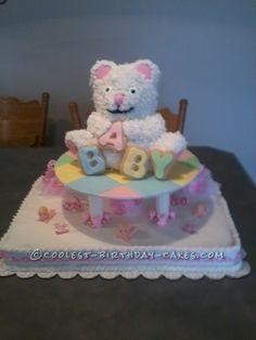 Cute Teddy Bear Baby Shower Cake... This website is the Pinterest of homemade birthday cakes