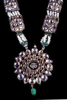 Important Old Prince (Maharaja to be) Necklace with Medallion and Chain of  White Sapphires and Beautiful Enamel on the Back