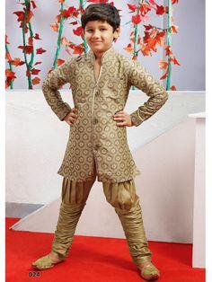 Beige Color Sherwani Kurta Bridges bottom for Kids 024SIKD