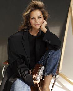 Negin Mirsalehi, Trail Blazers, Oversized Blazer, Female Portrait, Ruffle Blouse, Denim Jeans, Actresses, Celebrities, Model
