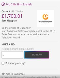 Outlander star Sam Heughan bids £1,700 on co-star's frock to raise cash for World Child Cancer