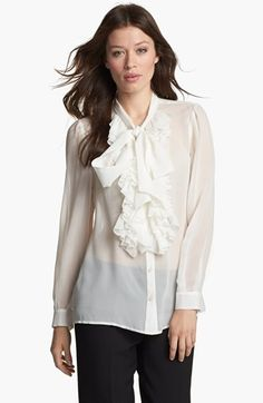 Classiques Entier® Ruffled Silk Georgette Blouse available at #Nordstrom