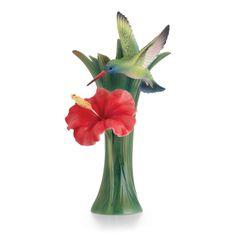 Franz Hummingbird Sculptured Porcelain Small Vase
