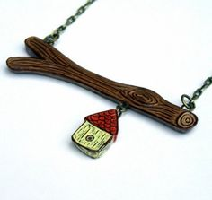 Birdhouse Necklace, Tree Branch Necklace, Bird House Charm, Faux Bois Jewelry, Woodgrain Necklace, Gift for Mom, Wife Gift, Birthday Gift