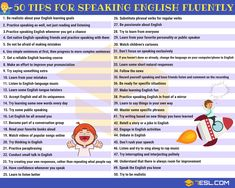 Learn how to speak English fluently and confidently! With our 50 useful tips for Speaking English Fluently, you can dramatically improve your spoken English and Learn English Speaking, Learn English For Free, English Language Learning, Teaching English, Speak English Fluently, Fluent English, English Tips, English Lessons, Grammar And Vocabulary