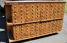 Antique 110 Drawer Tiger Oak Library Card Catalog Apothecary Parts Cabinet Craft