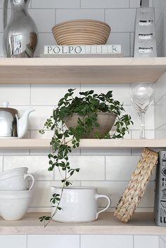 Open kitchen shelvin