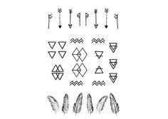 Minimal Geometric Mini Tattoos by DrawAbidingCitizen on Etsy, £4.00