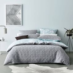 """""""Cumulus"""" reversible quilt cover from Adairs  reversible grey soft cotton jersey / geometric washed blue printed cotton  #bedlinen #quiltcover #bedroom #bedlinen #bedroominspo #bedroomstyling #bedroomdecor #bedroomideas #reversible #homestyling #homedecor #homeinterior #interiordesign #adairs #homerepublic #RJLxHR"""