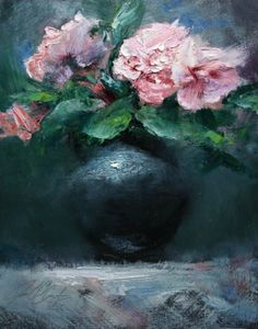 'Roses in Black Vase', painting by artist Justin Clements