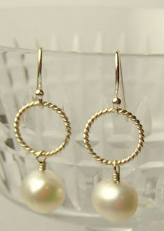 Pearl and Sterling Silver Earrings Eleandor's Pearls by TJDbyIris, $27.00