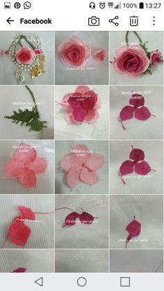 Burlap Flowers, Satin Flowers, Beaded Flowers, Fabric Flowers, Needle Tatting, Needle Lace, Needle And Thread, Leaf Crafts, Burlap Crafts