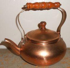 Vintage Tea Kettle Copper Copper Tea Kettle Tea Pot by TheBackShak, $15.00