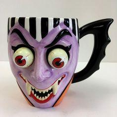 Unique Novelty Ceramic Mug Vampire Sculpted Bobble Eyes Cool Purple Fangs 16oz #Department