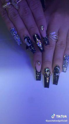 Bling Acrylic Nails, Best Acrylic Nails, Rhinestone Nails, Bling Nails, Swag Nails, Gel Nails, Bling Nail Art, Coffin Nails, Edgy Nails