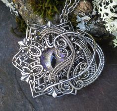 Gothic Steampunk Evil Eye Pendant With Color by twistedsisterarts, $99.95