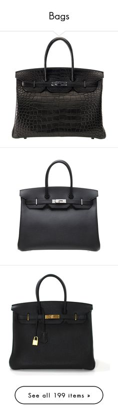 """Bags"" by patricia7 ❤ liked on Polyvore featuring bags, handbags, hermes, handbags and purses, hermes birkin bags, top handle bags, top handle bag, black croc handbag, handle bag and mini handbags"
