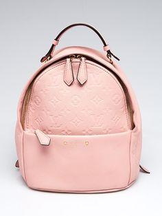 b05ca3530de21 Louis Vuitton Rose Poudre Monogram Empreinte Leather Sorbonne Backpack Bag