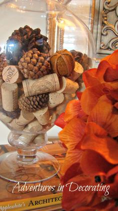 Adventures in Decorating - apothecary jar filled with wine corks and pine cones.