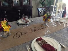 """Thanksgiving table runner Burlap Table Runner 12"""", 14"""" or 15"""" wide with Give Thanks in the center - long lengths Holiday decorating Home"""
