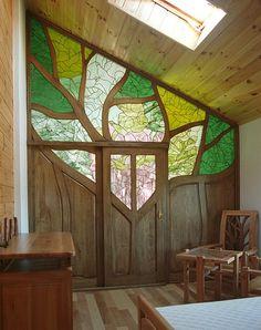 3141 - Meble z drewna unikatowa ścianka działowa do sypialni witraż artystyczny…