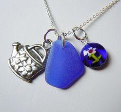 Cobalt Blue Sea Glass Gardening Necklace by BeachGlassMemories, $26.50