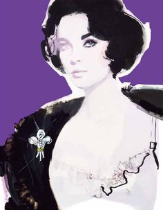 The celebration of American icon Elizabeth Taylor continues, visualized  by celebrity illustrator David Downton