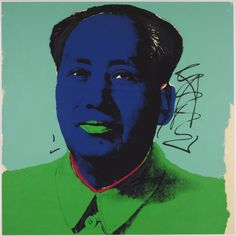 """Andy Warhol - no title, 1972, screenprint on paper  =  The title  """"Mao"""" 1972 10 faces."""
