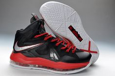 fbb4c69689d6 Nike Air Max LeBron James X Elite Series Black Red Basketball shoes Red Basketball  Shoes