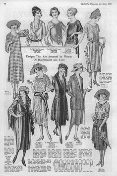 May 1921 Fashion. Various kind of costumes shown in this picture