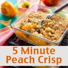 Menu - One Dish Ham Dinner with Peach Crisp - Living on a Dime To Grow Rich 5 Minute Peach Crisp-----Good idea to use flavored instant oatmeal if that's all you have in the house!<br> Use up leftover ham with this quick and easy menu. Healthy Peach Cobbler, Healthy Peach Crisp, Easy Peach Crisp, Peach Crumble, Peach Oatmeal Crisp, Quick Peach Cobbler, Sugar Free Peach Cobbler, Can Peaches Recipes, Fresh Peach Recipes