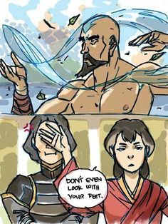 The legend of korra, funny, lin, tenzin ---- Don't even look with your feet!! Bahahaha!! I'm dying!!! XD
