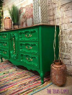 AVAILABLE Boho French Provincial Triple Dresser Buffet #paintedfurniture #affiliate