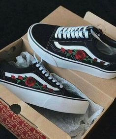 b806bcc584 Tendance Sneakers 2018   Custom Rose Vans Old Skool Embroidery shoes  customized sneakers roses custom shoes embroidered shoes womens sneakers  unisex shoes